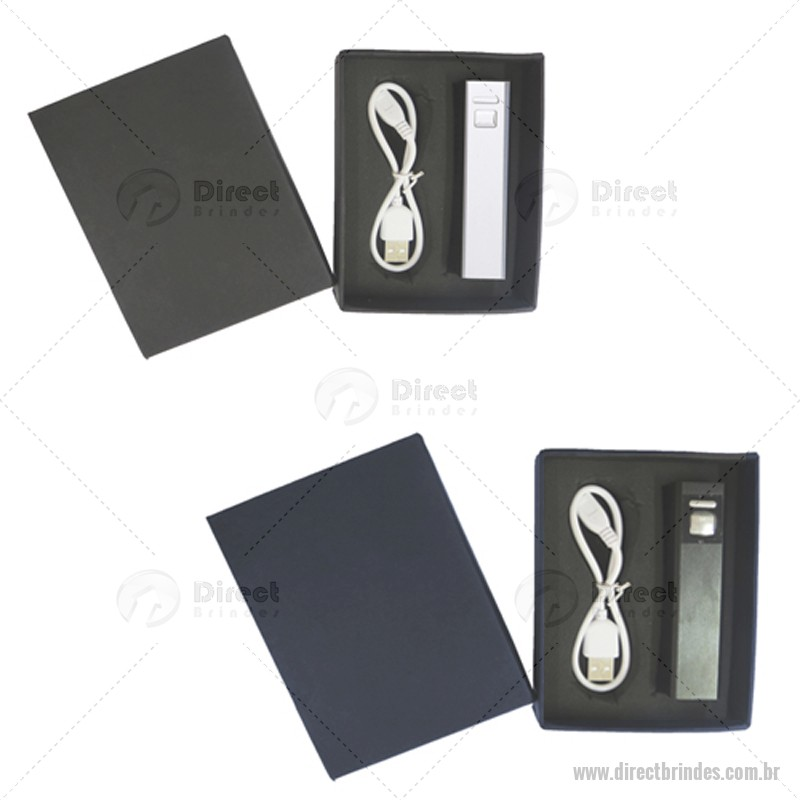 Kit Carregador Power Bank + Caixa Cartonada Personalizado Barato
